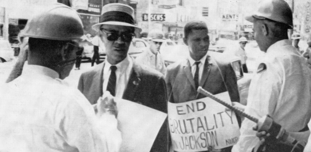 Medgar Evers at a protest in Jackson Mississippi
